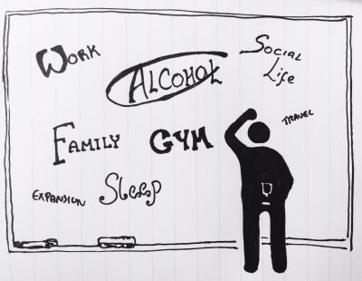 Work, alcohol, gym