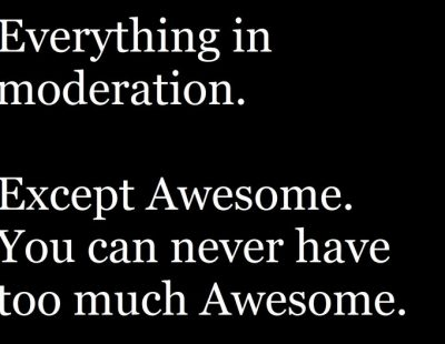 Eveything In Moderation, Except Awesome