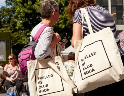 Mindful Drinking Festival visitors with Fuelled by Club Soda bags