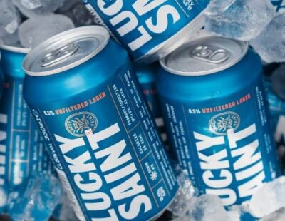 Lucky Saint alcohol-free beer in cans